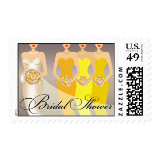Bride and her Bridesmaids Bridal Shower | yellow Postage