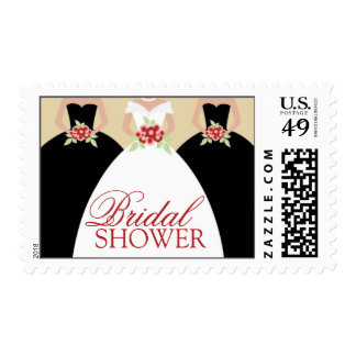 Bride and Her Bridesmaids Postage Stamps (black)