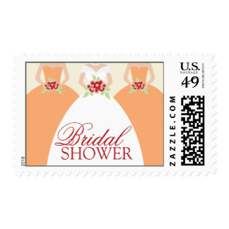 Bride and Her Bridesmaids Postage Stamps (coral)