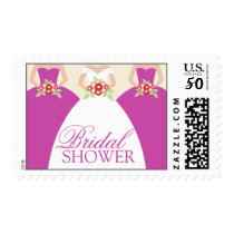 Bride and Her Bridesmaids Postage Stamps (fuchsia)