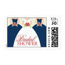 Bride and Her Bridesmaids Postage Stamps (navy)