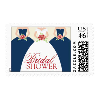 Bride and Her Bridesmaids Postage Stamps navy