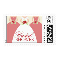 Bride and Her Bridesmaids Postage Stamps (pink)
