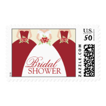Bride and Her Bridesmaids Postage Stamps (red)