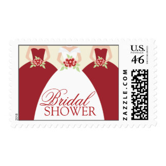 Bride and Her Bridesmaids Postage Stamps red