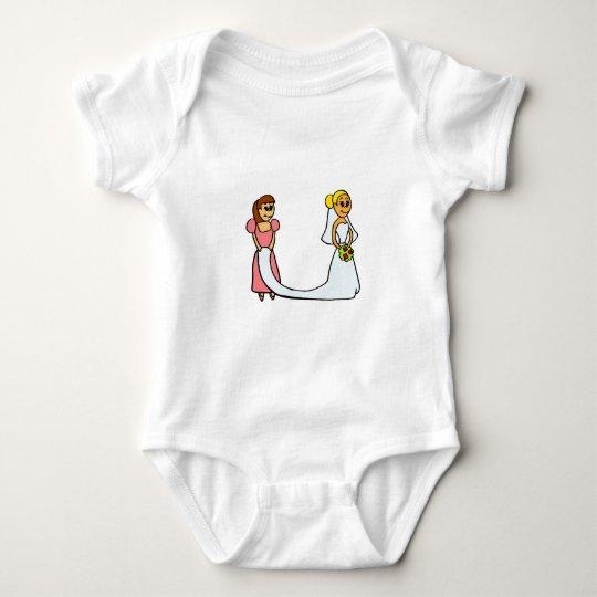 Bride and Maid of Honor Cartoon Baby Bodysuit