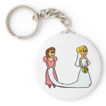 Bride and Maid of Honor Cartoon Keychain