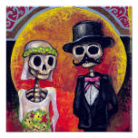 Bride and Mustachioed Groom Posters