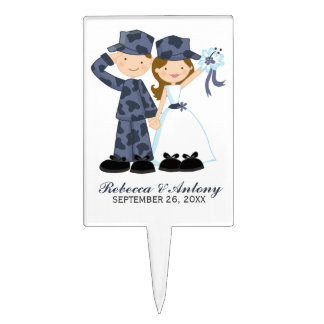 Bride and Soldier in Blue Camouflage Wedding Cake Topper