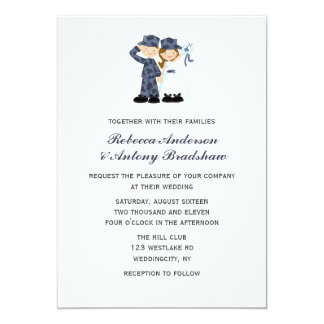 Bride and Soldier in Blue Camouflage Wedding Card