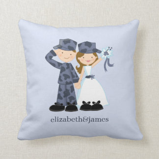 Bride and Soldier in Blue Camouflage Wedding Throw Pillow