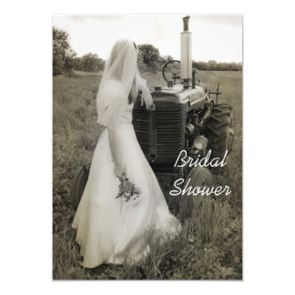 Bride and Tractor Country Bridal Shower Invitation