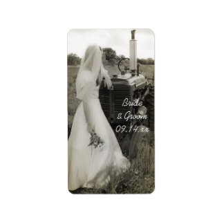 Bride and Tractor Country Wedding Favor Tags