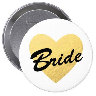 Bride Badge | gold heart | Bachelorette party Pinback Button
