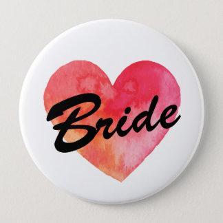 Bride Badge | watercolor heart  Bachelorette party Pinback Button