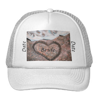 Bride ballcap with heart on beach mesh hats