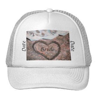 Bride ballcap with heart on beach trucker hat