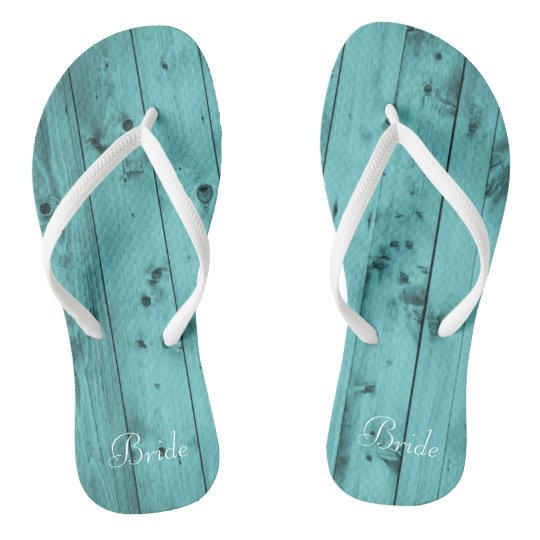 68f1d35357ee6 Bride Beach Wedding Teal Rustic Weathered Wood Flip Flops