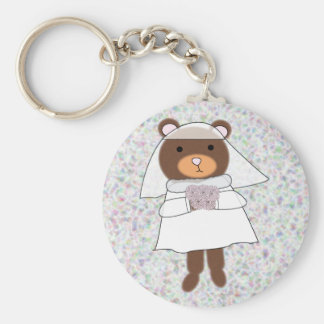 bride bear keychain