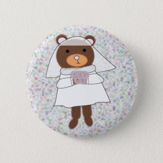 bride bear with flowers purple pin