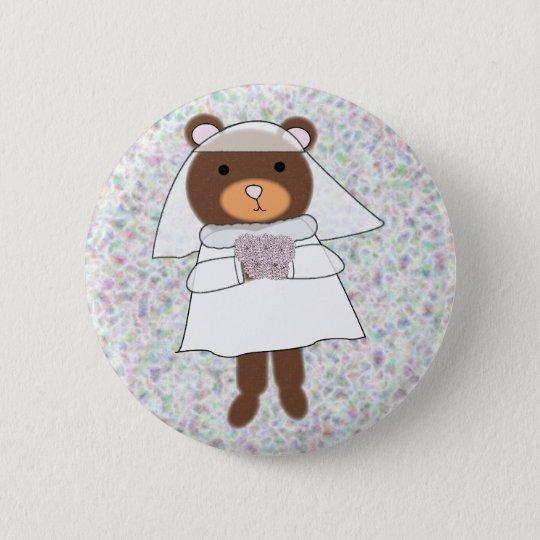 bride bear with flowers purple pin