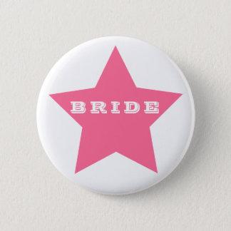 BRIDE   Big HOT PINK Star Button