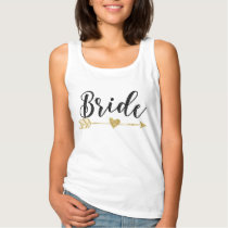 Bride Black and Golden Glitter-Print Tank Top