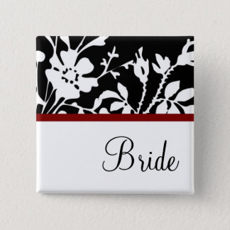 Bride Black and White Floral Button