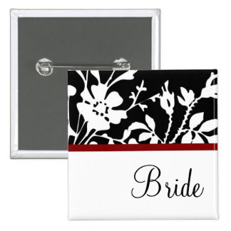 Bride Black and White Floral Button