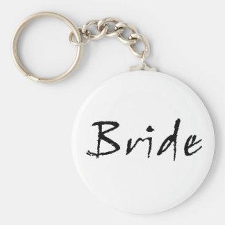 bride black basic round button keychain