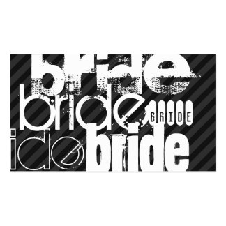 Bride; Black & Dark Gray Stripes Business Card