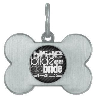 Bride; Black & Dark Gray Stripes Pet ID Tag