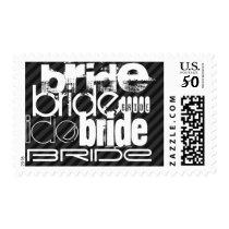 Bride; Black & Dark Gray Stripes Postage
