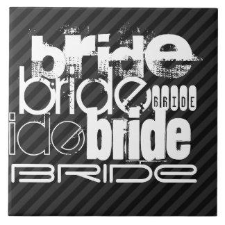 Bride; Black & Dark Gray Stripes Large Square Tile