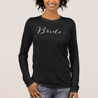 Bride Black Script Bridal Party Wedding T-shirt