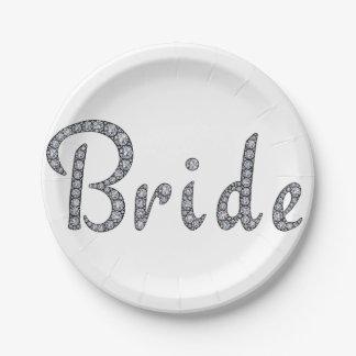 Bride bling paper plates
