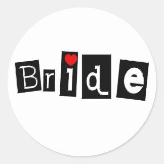 Bride (Blk Sq) Classic Round Sticker