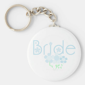 Bride Blue Flowers T-shirts and Gifts Keychain