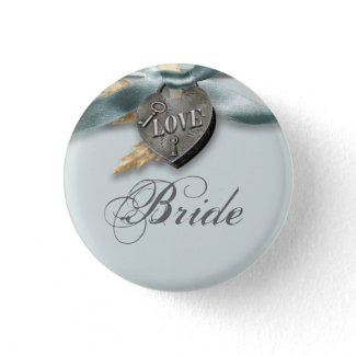Bride blue gray country wedding buttons