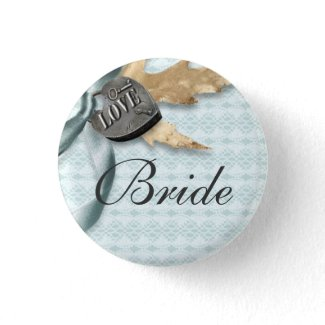 Bride Blue lace country locket Pinback Buttons