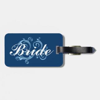 Bride, Blue Scroll Luggage Tag