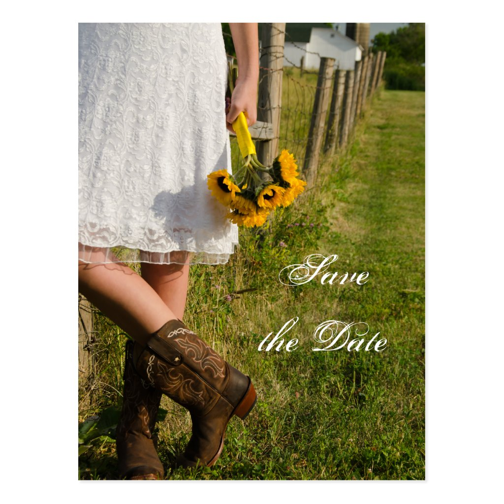 Bride, Boots and Sunflower Wedding Save the Date 8 postcards.
