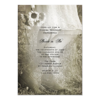 Bride, Boots and Sunflowers Country Bridal Shower Card