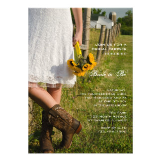 Bride Boots and Sunflowers Country Bridal Shower Custom Announcements