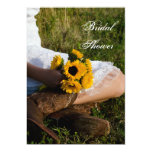Bride, Boots and Sunflowers Country Bridal Shower Personalized Announcements