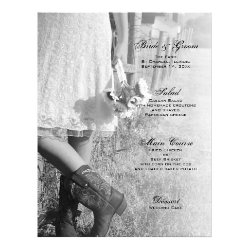 Bride, Boots and Sunflowers Country Wedding Menu Flyer Design