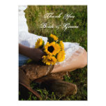"""Bride, Boots and Sunflowers Flat Thank You Notes 4.5"""" X 6.25"""" Invitation Card"""