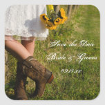 Bride, Boots and Sunflowers Wedding Save the Date Square Sticker