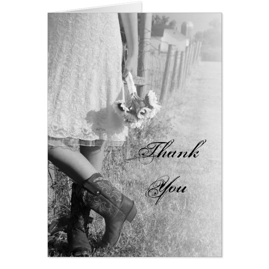 Bride, Boots and Sunflowers Wedding Thank You Card