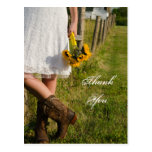 Bride, Boots and Sunflowers Wedding Thank You Post Cards
